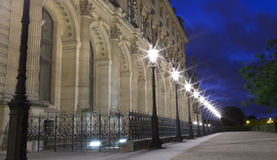 Street Light by the Louvre Museum in Paris, France Royalty Free Stock Photo