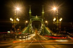 Street light at night in Budapest Stock Photo