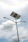 Street light poles. Lampposts with solar energy sources Royalty Free Stock Photography