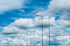 Street light on the sky. With Cloud, North of Thailand Stock Images