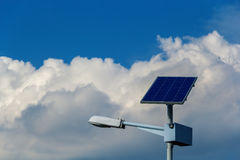 Street light with solar panel Stock Photography