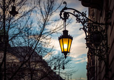 Street light at sunset in Budapest, Europe. Royalty Free Stock Photography