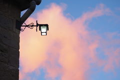 Street light and sunset cloud. The silhouette of my street light Royalty Free Stock Photography