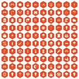 100 street lighting icons hexagon orange Stock Images