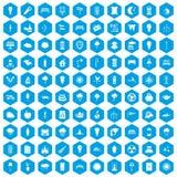 100 street lighting icons set blue. 100 street lighting icons set in blue hexagon isolated vector illustration Stock Illustration