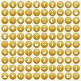 100 street lighting icons set gold. 100 street lighting icons set in gold circle isolated on white vector illustration stock illustration