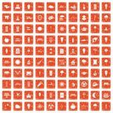 100 street lighting icons set grunge orange. 100 street lighting icons set in grunge style orange color isolated on white background vector illustration Stock Photography