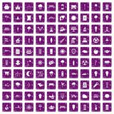 100 street lighting icons set grunge purple. 100 street lighting icons set in grunge style purple color isolated on white background vector illustration Royalty Free Stock Photos