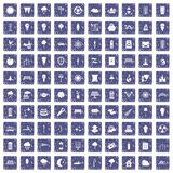 100 street lighting icons set grunge sapphire. 100 street lighting icons set in grunge style sapphire color isolated on white background vector illustration Royalty Free Stock Images