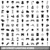 100 street lighting icons set, simple style. 100 street lighting icons set in simple style for any design vector illustration Stock Images