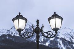 Street lighting lamps stock photo