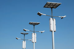 Street lighting with solar panels Stock Images