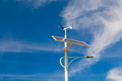Street lighting works from solar panels and wind generators Royalty Free Stock Photo