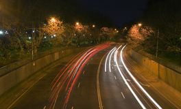 Street Lights. Highway throught the park at night royalty free stock photos