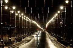 Street in the lights Royalty Free Stock Images