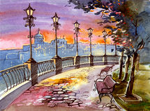 Street lights. Urban street lights near the river stock illustration