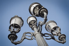 Street lights in Barcelona. Old style street lamps in Barcelona royalty free stock photo