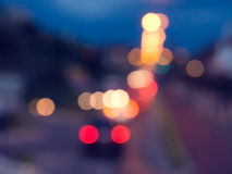 Street lights and cars with defocus effect Stock Images