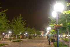 Street lights in the center of the old part of the night Pomorie in Bulgaria royalty free stock photo