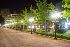 Street lights in the central Pomorie Street in Bulgaria royalty free stock image