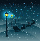80331864. Street lights Christmas decorationsin snowfall,vector Stock Images