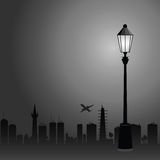 Street lights and the city color vector illustration Stock Photos