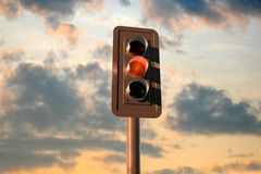 Street lights. 3d rendered objects on photography Royalty Free Stock Photo