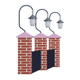 Street lights on the fence. Vector illustration.Lamps for lighting of streets, parks and estates Stock Images