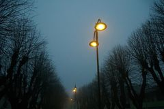 Street lights in foggy weather, late autumn, mistic haze or mist.  Stock Images