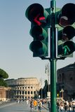 Street lights in front of Colloseum, Rome Stock Photos