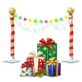 Street lights and gift boxes, Christmas time stock illustration