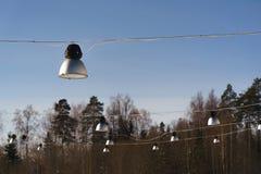Street lights hang. street lighting. Sunny day. Stock Photography