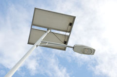 Street lights with solar panels Royalty Free Stock Photography