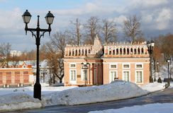 Street lights in Tsaritsyno park in Moscow put along the road. Stock Photography