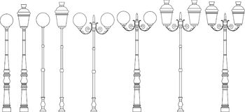 Street lights vector set Royalty Free Stock Images