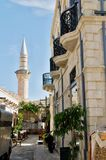 Street in Limassol - The minaret in the background Royalty Free Stock Images