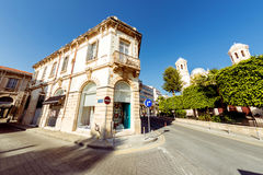 Street in Limassol old town with British colonial architecture. Royalty Free Stock Image