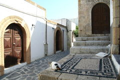Street of Lindos town in Rhodes island Stock Photos