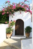 Street of Lindos town in Rhodes island Stock Photo