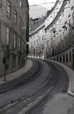 Street in Lisbon.Tramway track Stock Photography