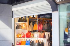 Street little shop with bags in Turkey, an exclusive. Kemer stock photography