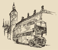 Street London England Bus Big Ben Vintage Sketch. Streets in London England with London Bus and Big Ben vintage engraved illustration hand drawn Stock Images
