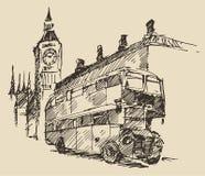 Street London England Bus Big Ben Vintage Sketch Stock Images