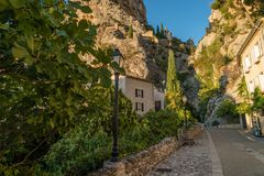 Street in Moustiers Sainte Marie. Street in the lovely village of Moustiers Sainte Marie in France Stock Images