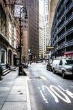 Street in Lower Manhattan, New York. Stock Photo