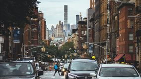 Street in Lower Manhattan stock images