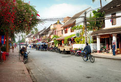 Street of Luang Prabang, Laos Stock Photography
