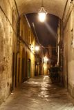 Street in Lucca at night, Italy. Street in the small city of Lucca in Italy Royalty Free Stock Image