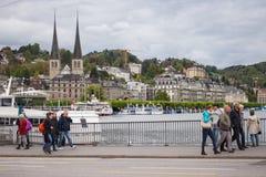 Street of Lucerne city along Reuss river coast Stock Image