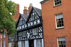 Street in Ludlow. Historic houses on a street in Ludlow, Shropshire Royalty Free Stock Images